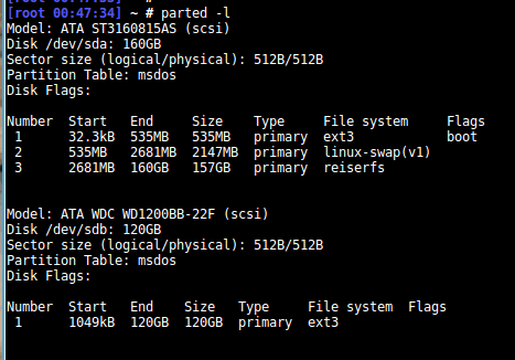 file system type using parted in linux