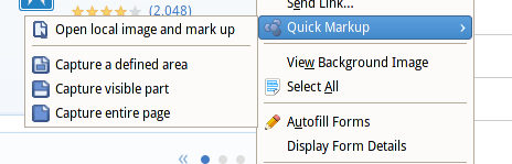 Quick Snapper Content Menu Screenshot in Mozilla Firefox