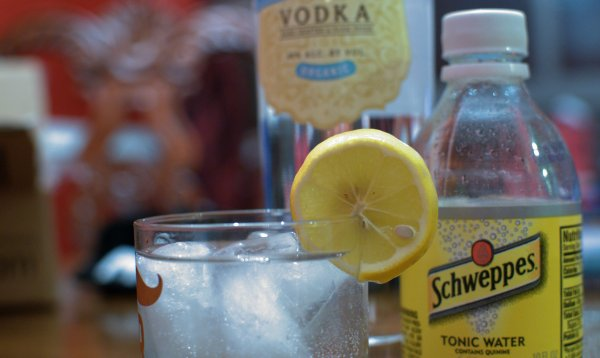 Vodka and Tonic Drink on Rocks