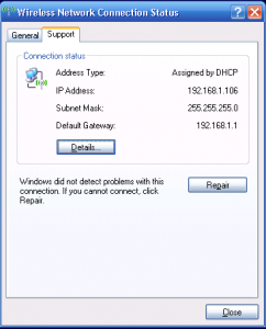 Network Details Dialog in Windows XP