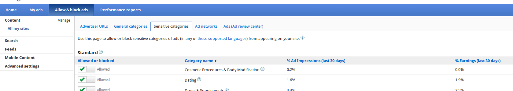 Block Ads UI in Google Adsense