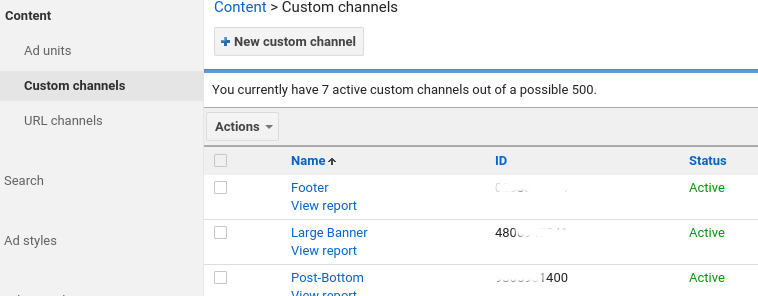 Adsense Custom Channels