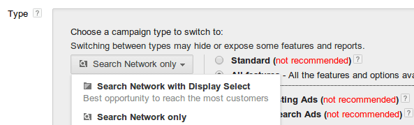 Adwords Search Network Only