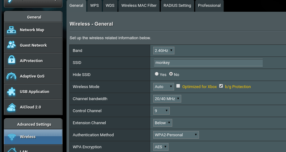 network router ssid in asus