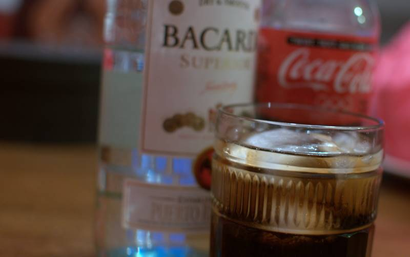 Rum and Coke or Cuba Libre with Bacardi