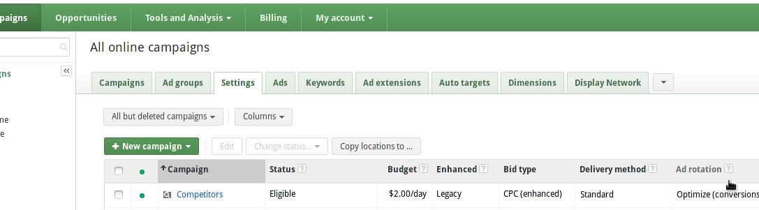 Campaign tab in Google Adwords