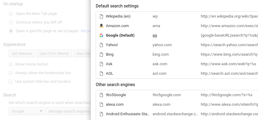 Google Chrome Search Engine Settings