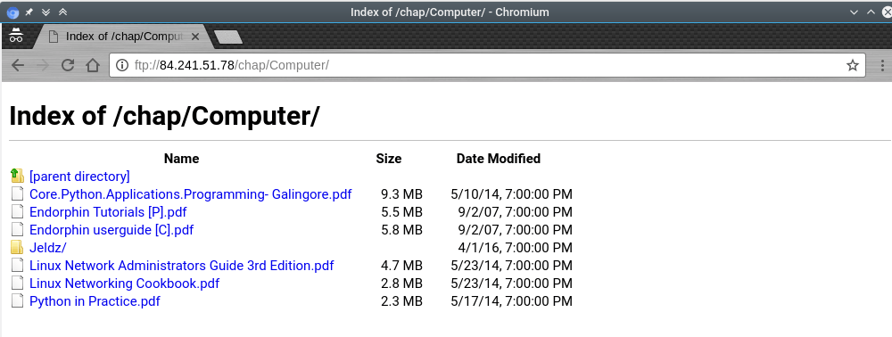 accessing ftp server using chromium browser