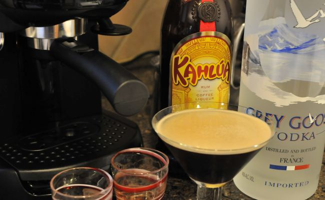 Espresso martini with Kahlua