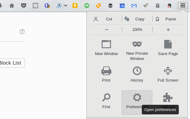 firefox menu and preferences