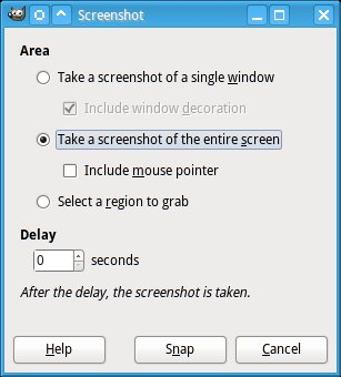 Dialog to take screenshots with GIMP