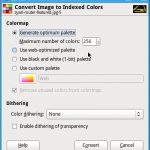 Dialog Window to Index the colors of an image in Gimp