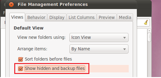 hidden files in Gnome files