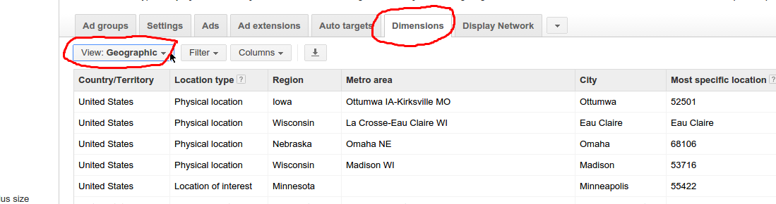 Dimension Report in Google Adwords