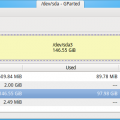 GParted Showing Disk Partitions on a Linux System