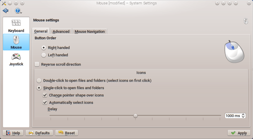 Single Click settings in KDE