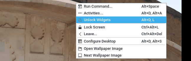 kde desktop lock or unlock widgets in popup