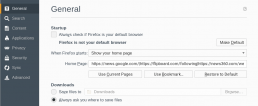 Home page settings in Mozilla Firefox