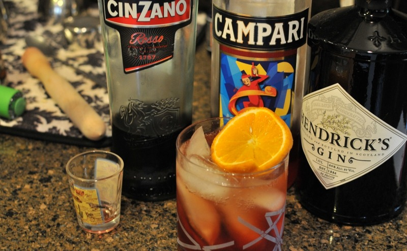 Negroni on the Rocks with Gin and Campari