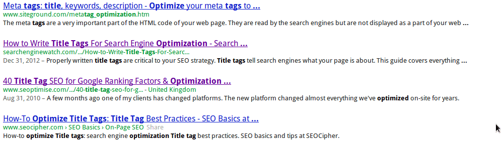 title tag search in google