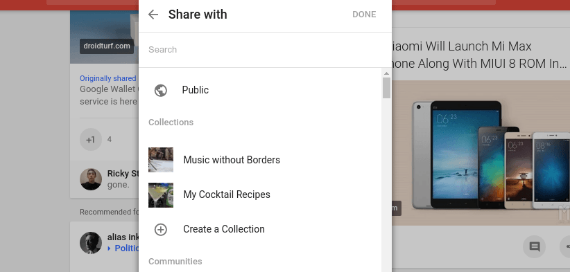 google plus sharing options