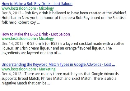 Google SERP with title tags