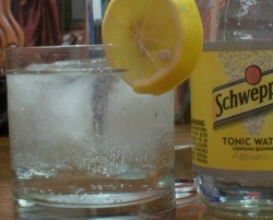 Vodka Tonic in an old fashioned glass with lemon wedge