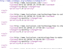 Snippet from an XML Sitemap